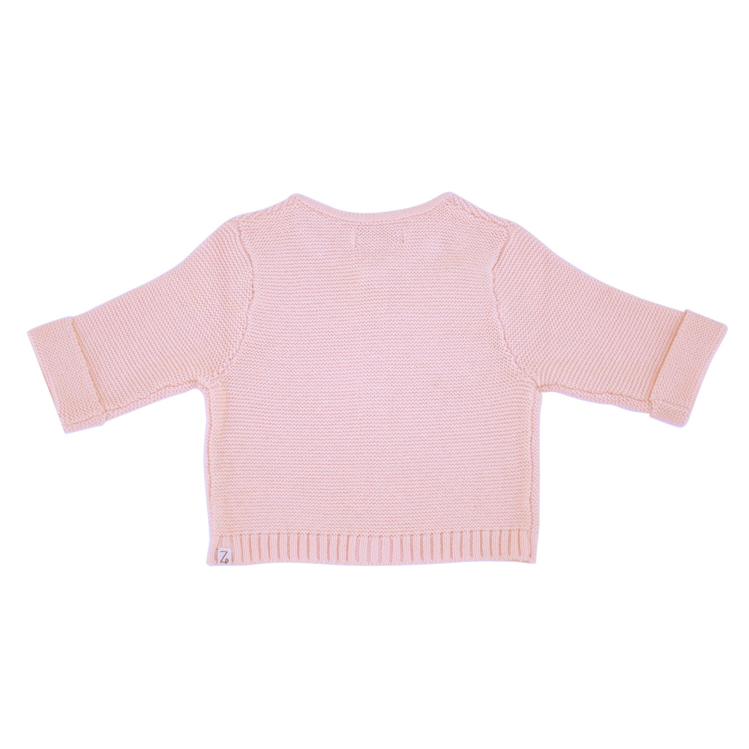 pink baby cardigan back