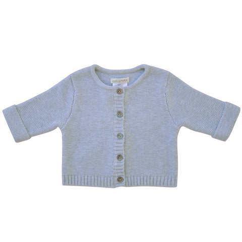 Wave knit luxury cotton baby cardigan in indigo marle