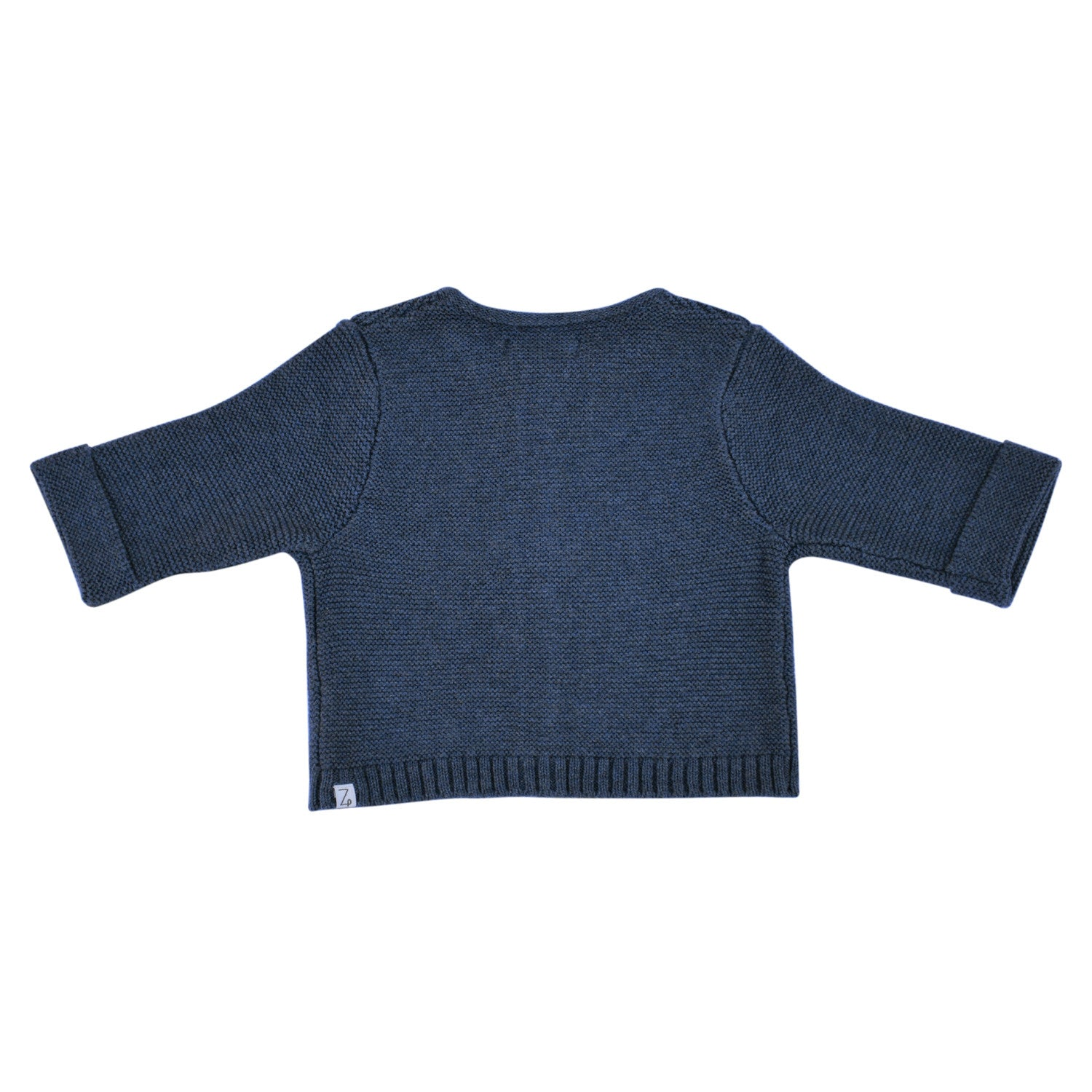 baby set cardigan indigo marle back