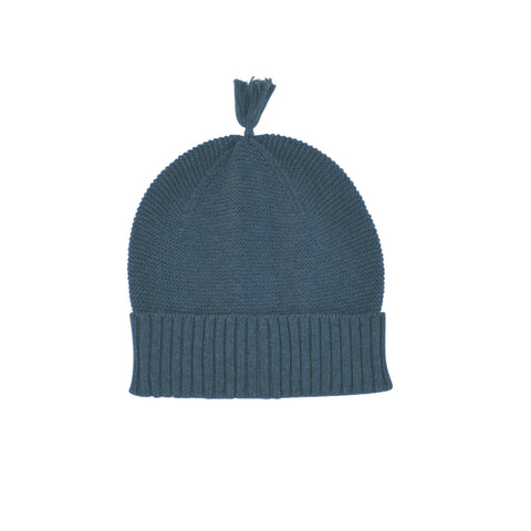 Mini bauble luxury cotton beanie with tassel in grey marle