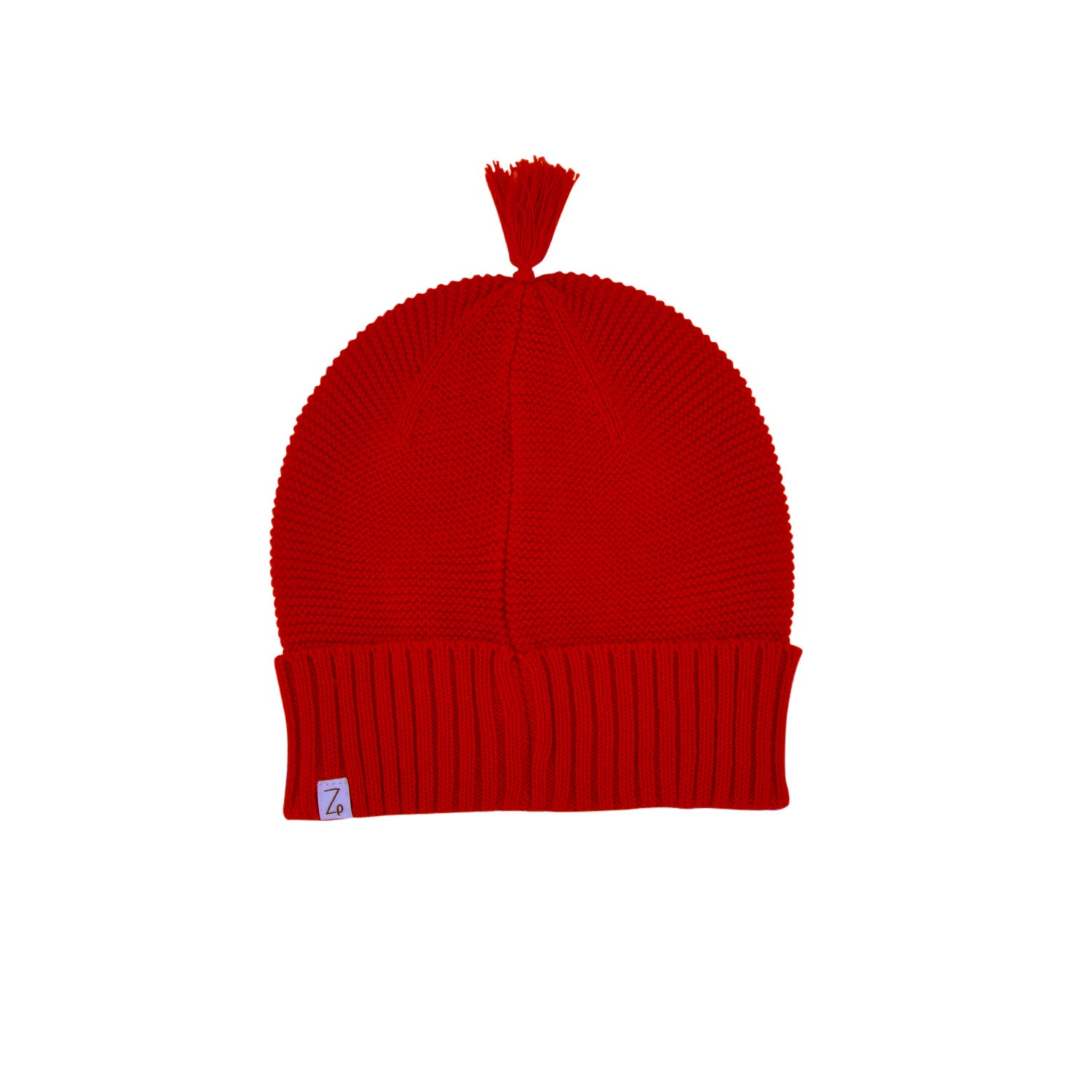 red baby beanie back