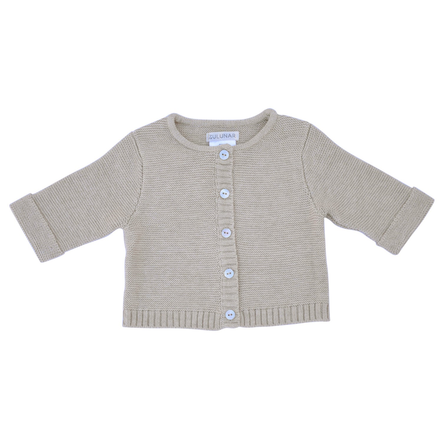 97e20576ab2c7 Wave knit luxury cotton baby cardigan in oatmeal colour – Zulunar