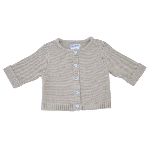 Wave knit luxury cotton baby cardigan in oatmeal