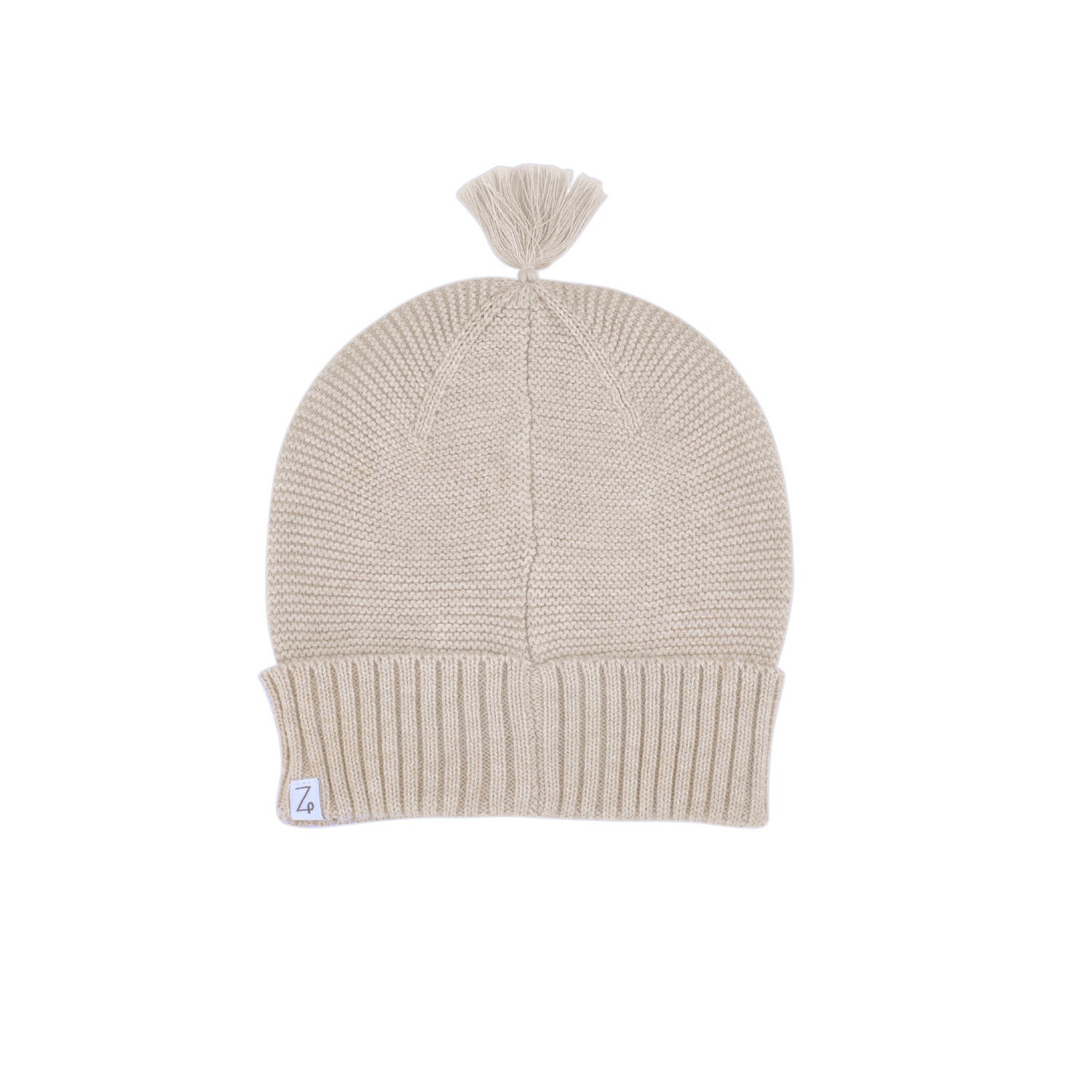 baby beanie oatmeal wave knit back