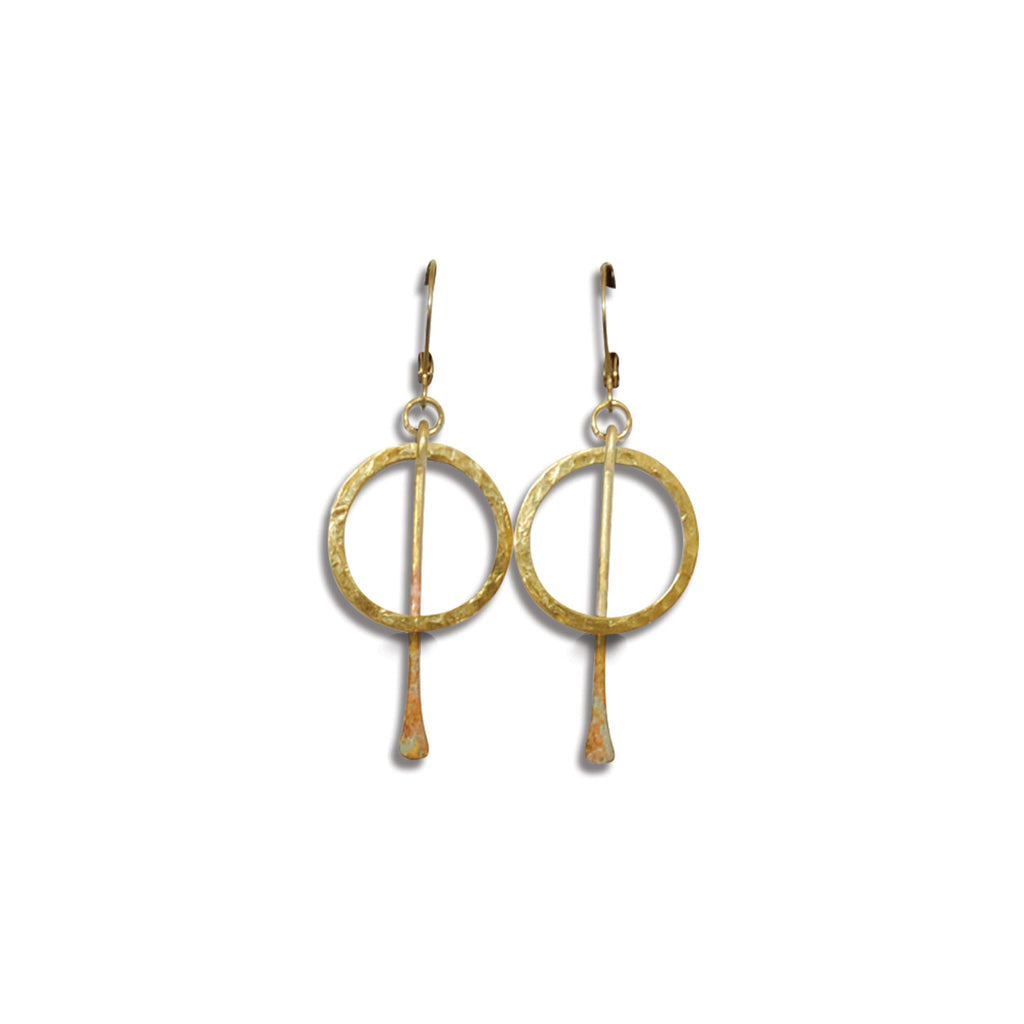 Small Brass Strike-Through Earring