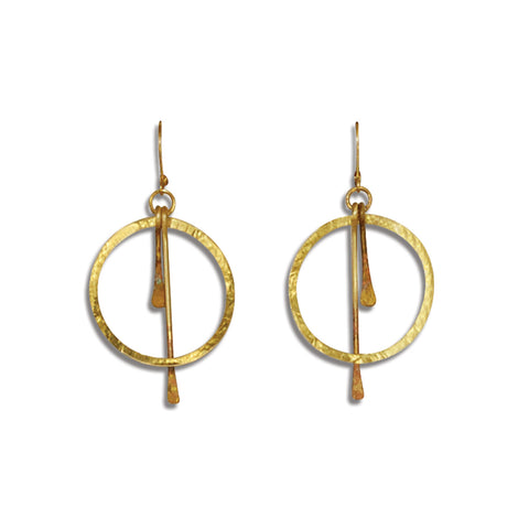 Double Brass Strike-Through Earring