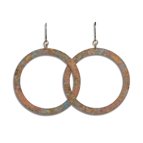 Large Patina Circle Hoop Earring