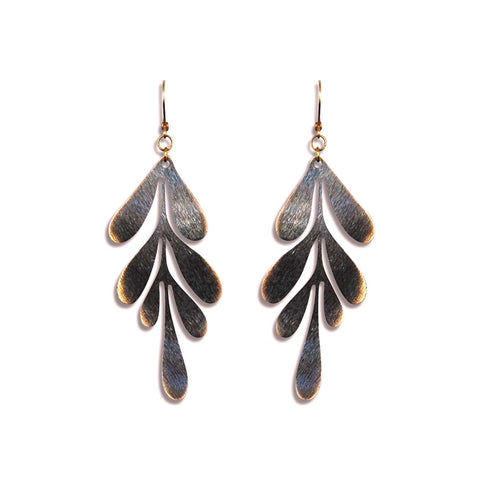 Dark Dripping Leaf Earring