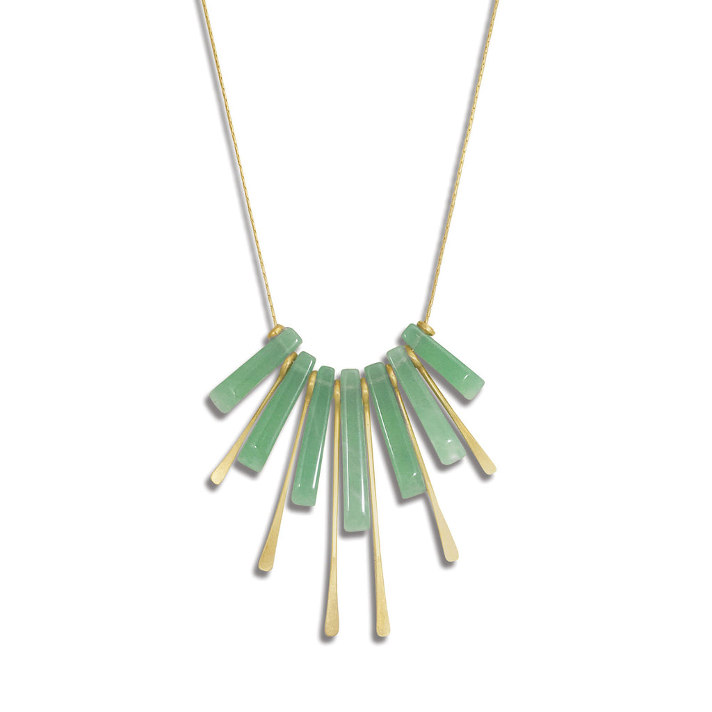 Green Aventurine Fan Necklace