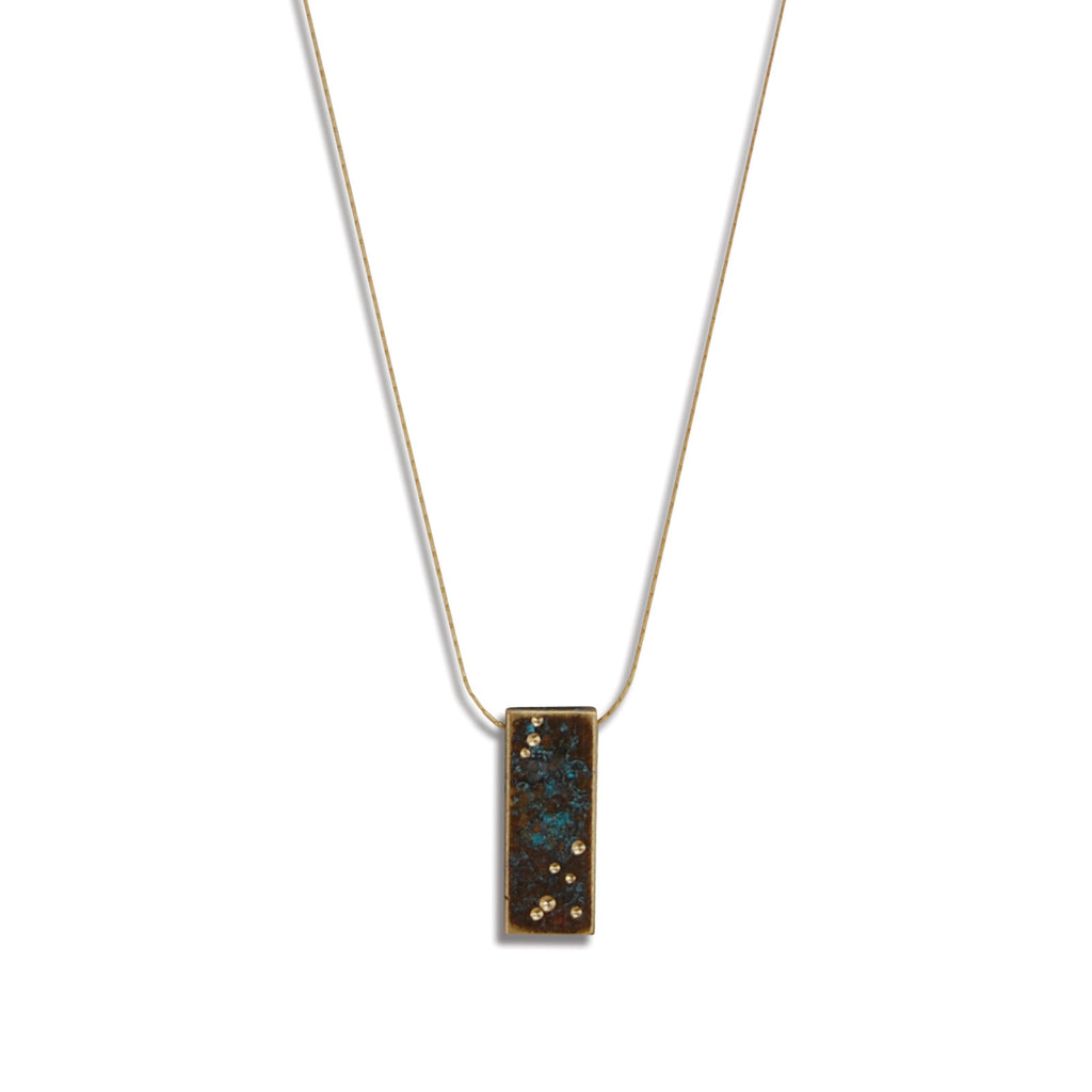 Starry Night Patina Vertical Billet Necklace