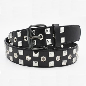 1977 Punk Style Black Metal Studded Leather Belt