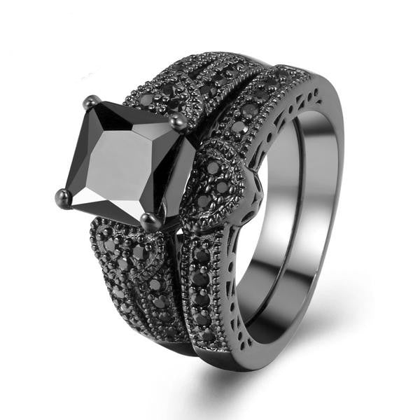 Gothic/Punk Black Metal Engagement Ring & Wedding Band