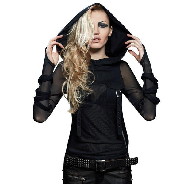 Punk//Gothic Top with meshed long sleeves and hood