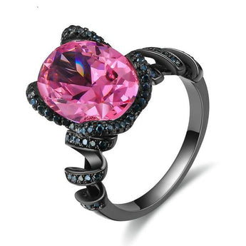 Large Oval Pink/Black Glam Punk Cubic Zirconia Ring