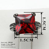 Square Red Crystal Black Gold Plated Ring