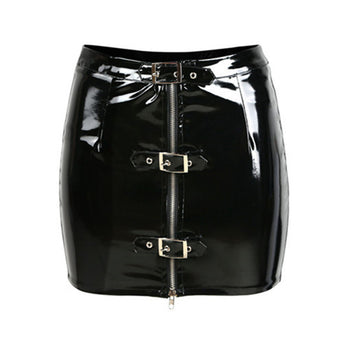 1977 Punk Style Mini Latex Rubber Skirt