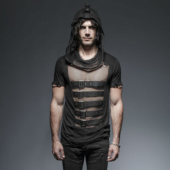Men's Gothic/Steampunk black sexy hooded Tee with buckles and mesh