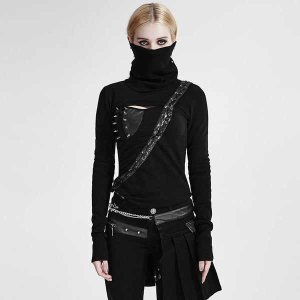 Goth Punk/Steampunk Black Top with high turtle neck and Studs