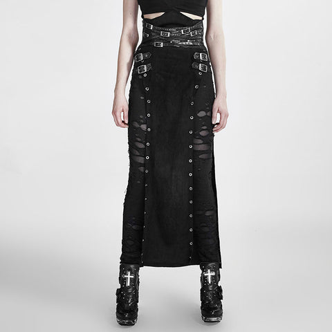Punk/Steampunk/Gothic Long Skirt with open sides