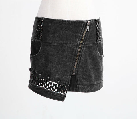 Street Rock Mini Skirt with Metal Weaving