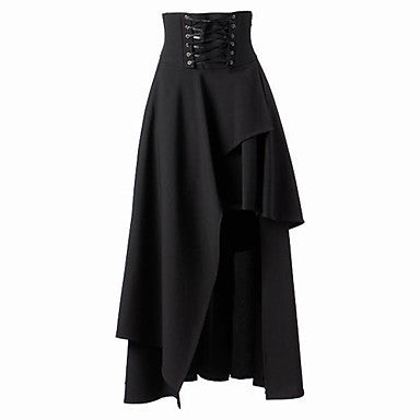 Long Steampunk Black Skirt with High Waist