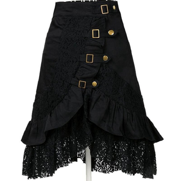 Knee Length Steampunk / Goth Black Lace Skirt with buckles