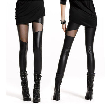 Slim Black Faux Leather Leggings  with Transparent Mesh Splicing