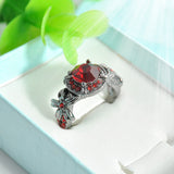 Glam/Goth Punk Red Zircon Crystal Ring