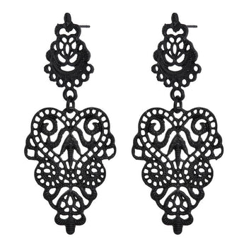 Black Metal Hollow Leaf Weave Shaped Drop Earrings