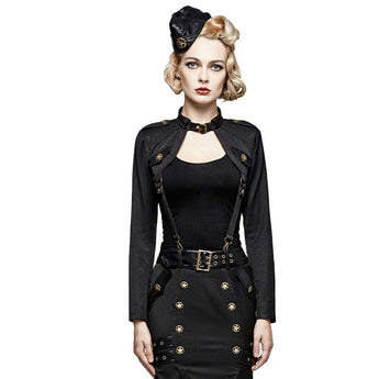 Punk Military Cropped Jacket with suspenders