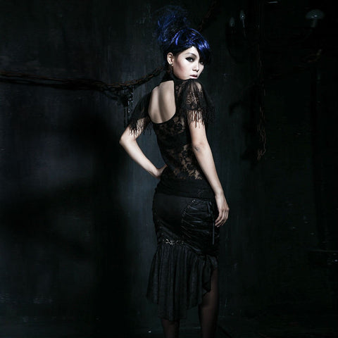 Gothic Punk Women's Shirt with Lace and Net