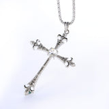 Sleek Long Goth Punk  Black or White/Silver Cross Pendant