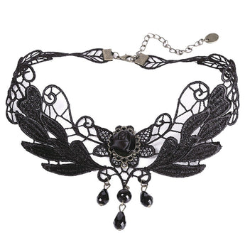 Gothic Punk/Steampunk Style Black Lace Choker Necklace