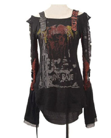 Punk Rock/Gothic Top with Mesh and Grommets