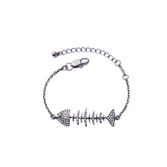 Handmade Punk Rock/Glam Punk Rhinestone Fish Bone Bracelet