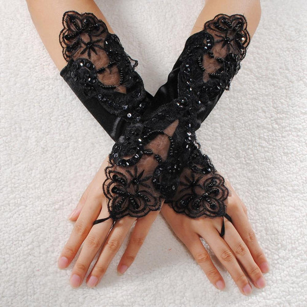 Victorian/Gothic Open Hand Lace Bridal Gloves