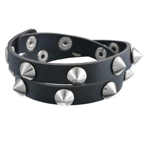 1977 Punk Leather Bracelets with Cone Studs