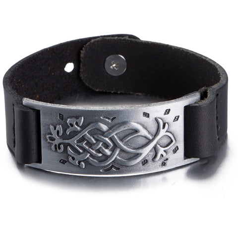 Black Wide Street Punk Cuff Bracelet with Celtic weave pattern.