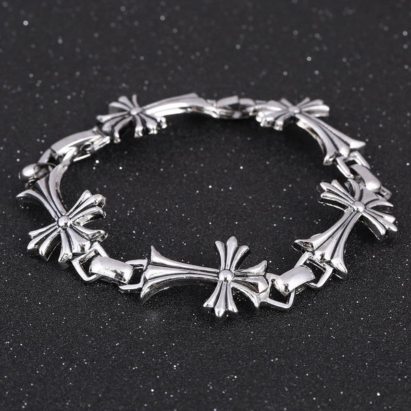 Street Punk / Goth Silver colored Bracelet with linked Crosses