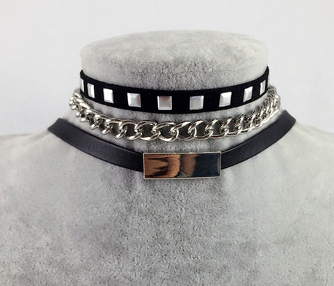 Black Leather 1977Punk Style Rivet Collar Choker Necklace