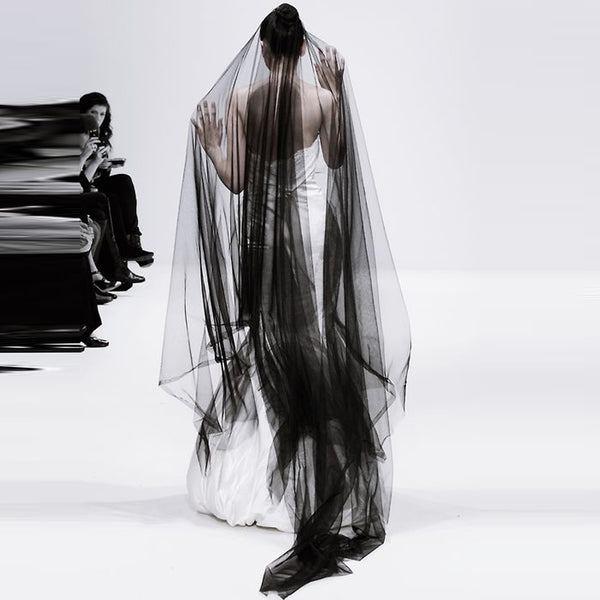 Black Cathedral Length Tulle Wedding Veil.