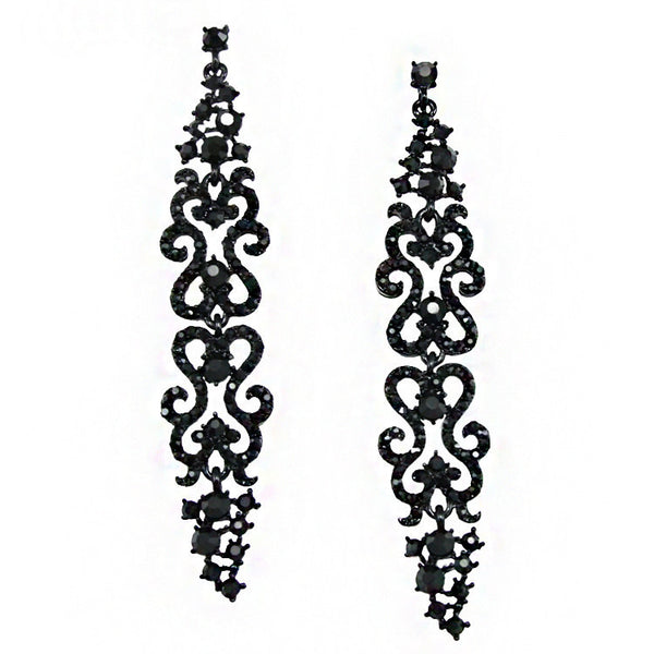 Romantic Goth Rhinestone Long Drop Earrings