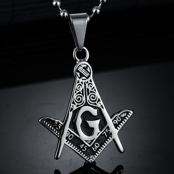 Masonic Punk/Steampunk Titanium Plated Pendant Necklace