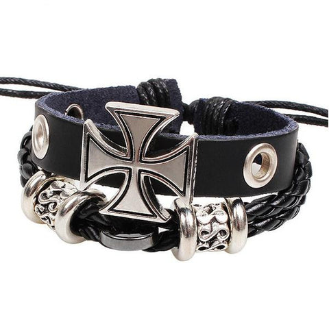 Vintage Style Black Multi Layered Wristband