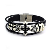 Punk Style Leather Bracelet with Crusade Cross and metal details