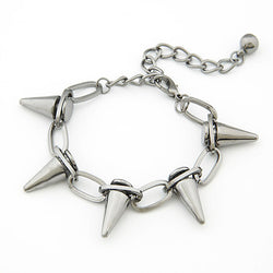 Punk Gothic Metal Alloy Black Chain Bracelet with Rivet Spikes