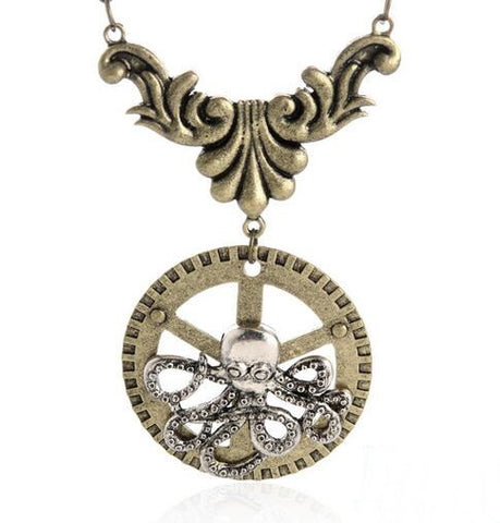 Steampunk pendant necklace - antique bronze plated