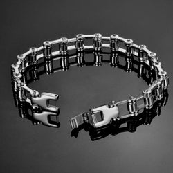 Street Punk Biker Chain Bracelet of Stainless Steel.