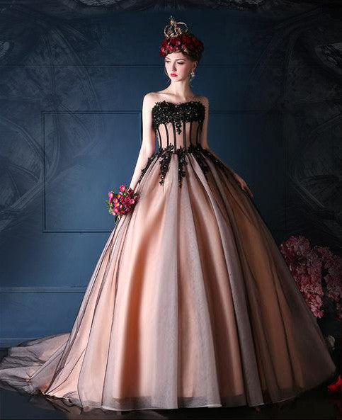 Romantic Black, Vintage Pink, or Purple Wedding Dress with Black Tulle and Beading