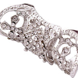 Glam Punk Hollow Armor Knuckle Ring with Rhinestones.